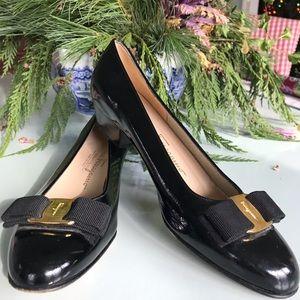 Classic Ferragamo black tuxedo pumps, size 6